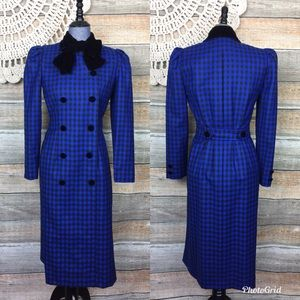 Oscar De La Renta | Vintage 80s Long Plaid Peacoat
